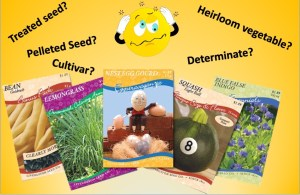 Seed packets and confused emoticon surrounded by horticultural terms