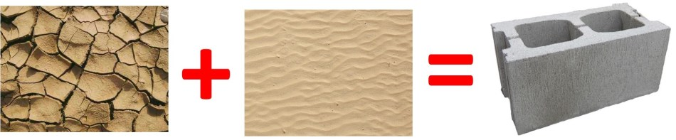 Clay plus sand equals cement