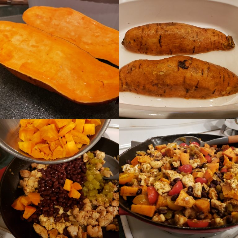 Mexican chicken, sweet potato and black bean skillet recipe