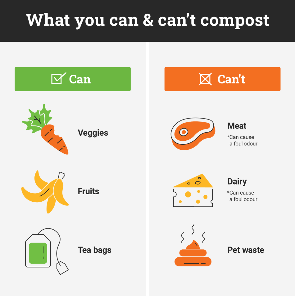 Illustration showing what you can and can't compost.