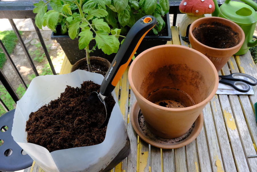Coir potting mix being used to fill pots.