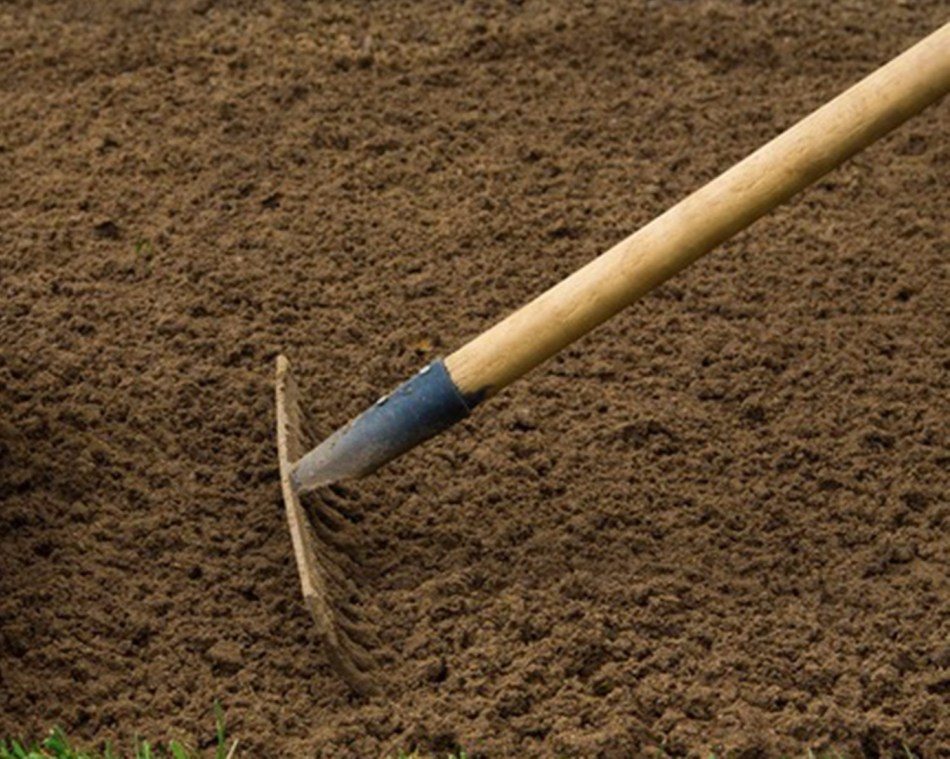 Bare earth being raked.
