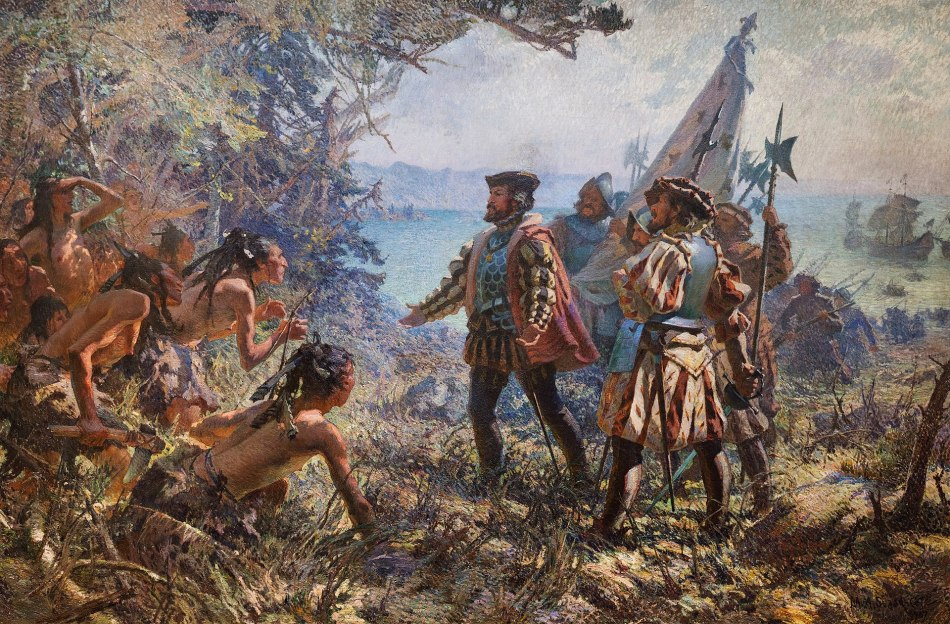 Painting showing Jacques Cartier meeting the inhabitants of Stadacona.