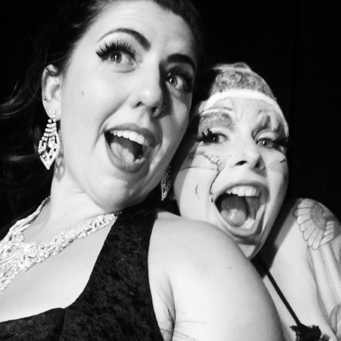 me and my co-producer, Andi Stardust, backstage flipping out with joy.