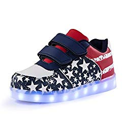Qkettle Kids High Top Wing Light Up Sneaker for Boys and Girls