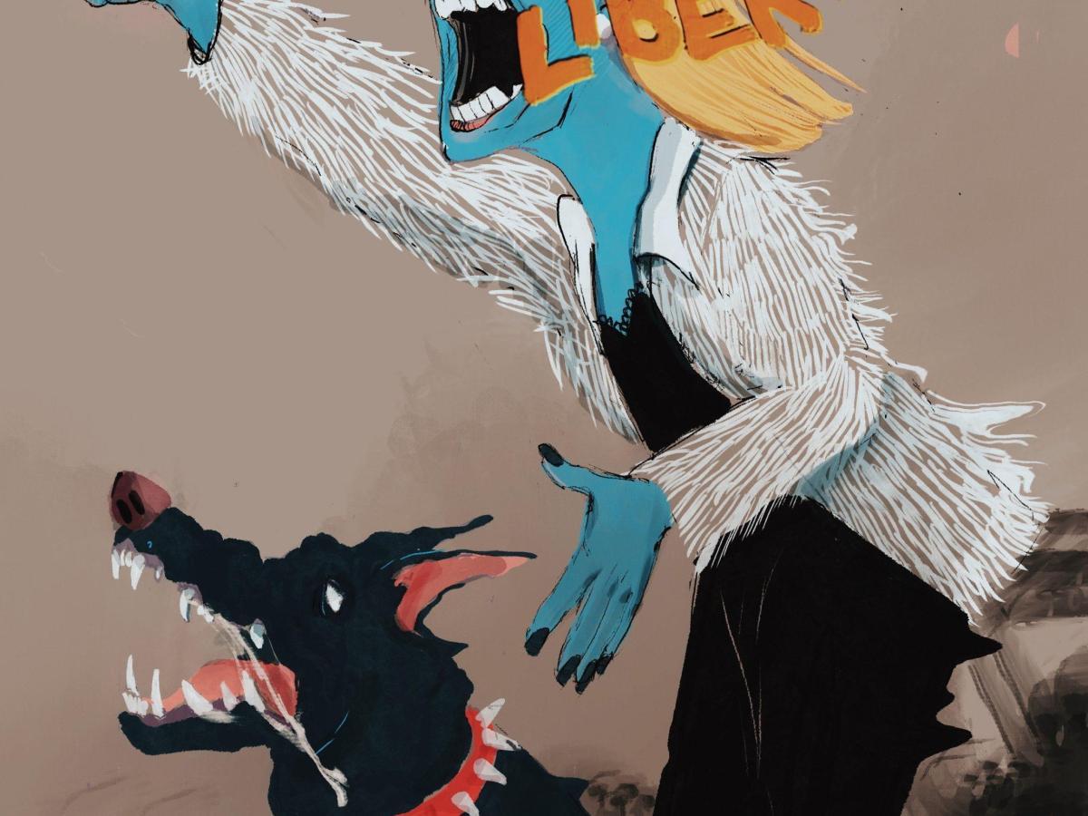 ilustración mujer perro vanidad