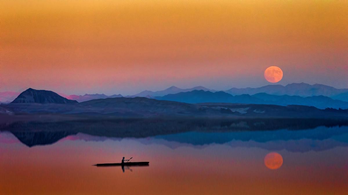 haz lago luna barca