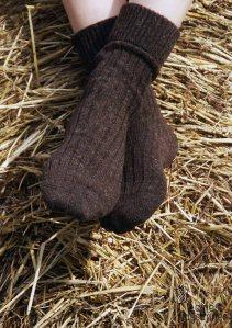 Laines Paysannes chaussettes brunes en laines locales