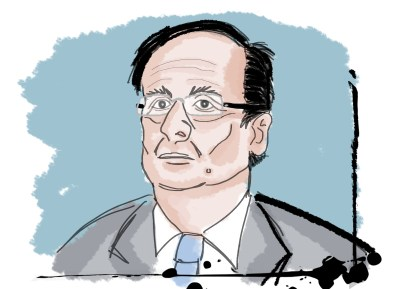 François Hollande. Illustration by Peter Ansell for La Jeune Politique