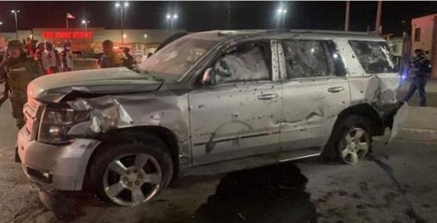 Uno de los vehículos que participaron en los actos violentos del pasado viernes en Matamoros. Foto tomada de redes sociales