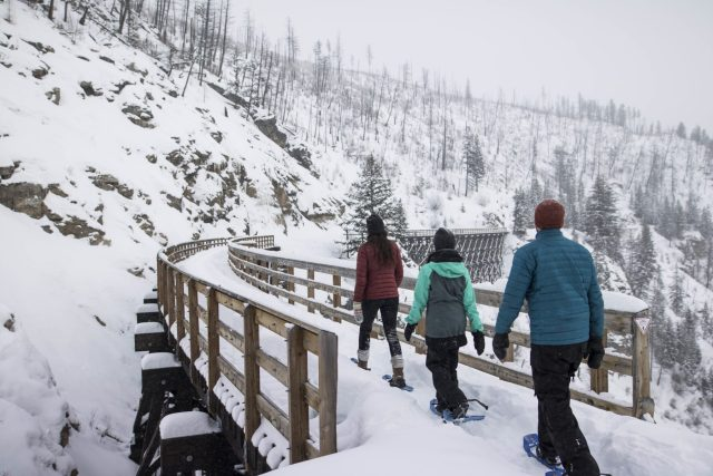 British Columbia, Kelowna - Snowshoe the Myra Canyon Trestles - ©tourismkelowna.com