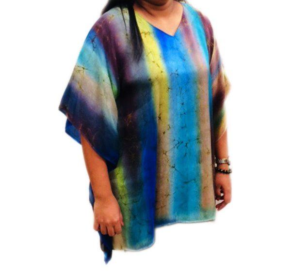 Batik Silk Poncho #7