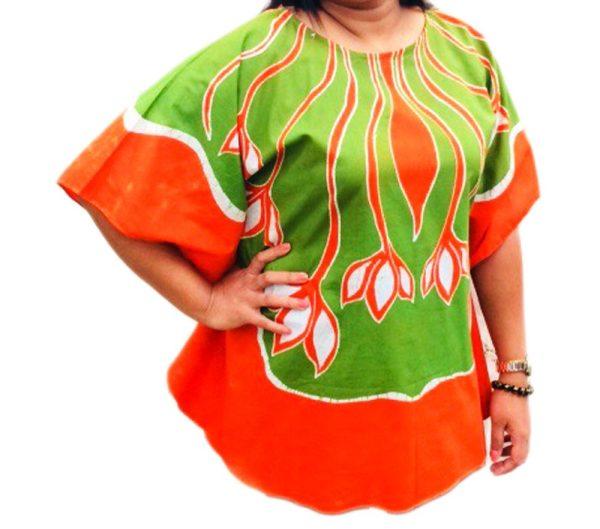Batik Cotton Poncho #01