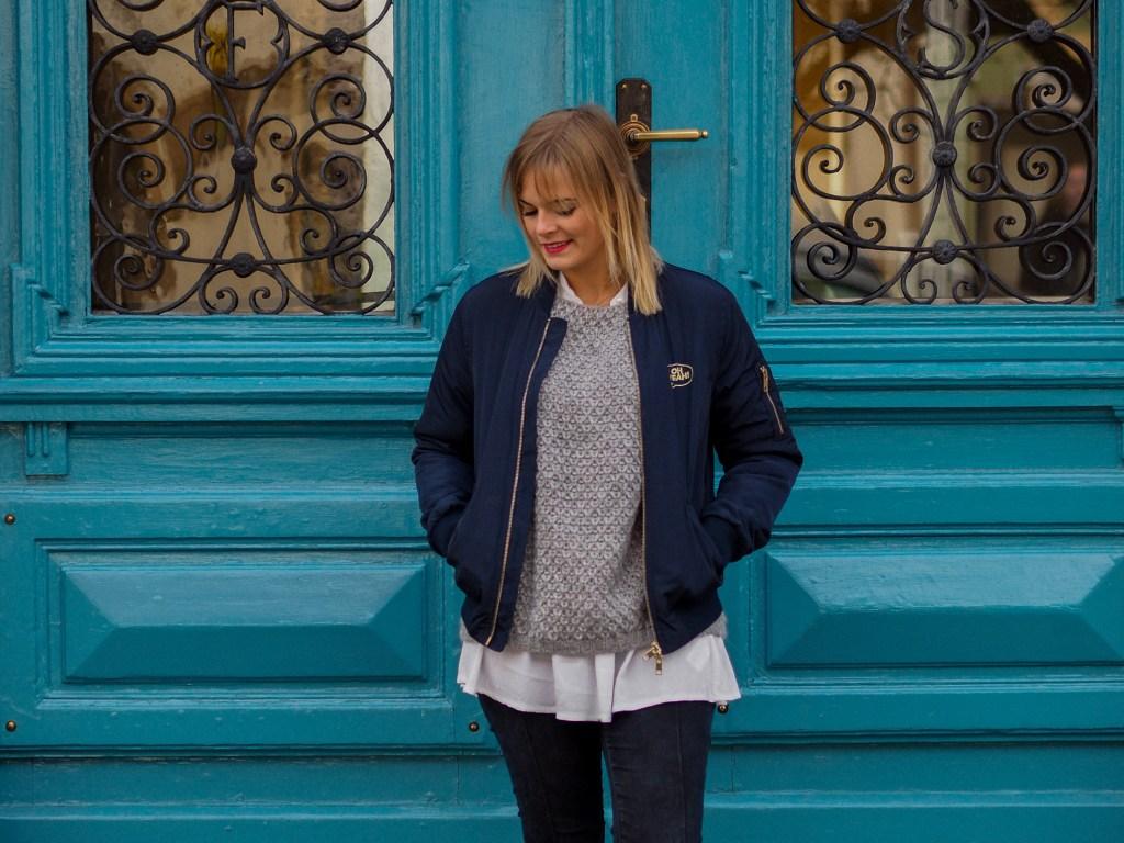 Bomberjacke, jeans, layering, streetlook, herbstlook, Converse