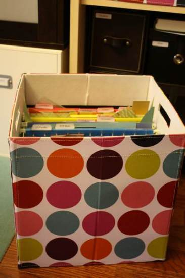 Fabric covered box for paper scraps