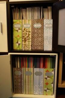 Cardstock in bottom cube, Patterned Paper in top