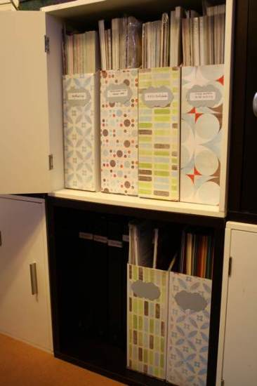 Cardstock, Paper Protectors and binders in bottom cube, Patterned Paper in top cube