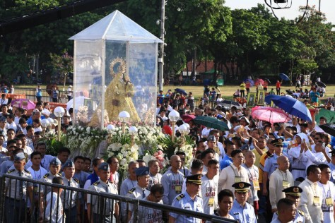 During the procession at the Quirino Grandstand.