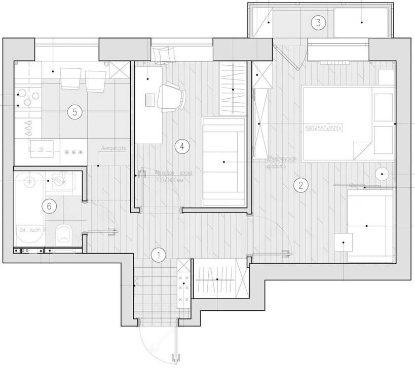 Семейный дом площадью 39м2 с детской комнатой, практичной, современной планировки и меблировки.