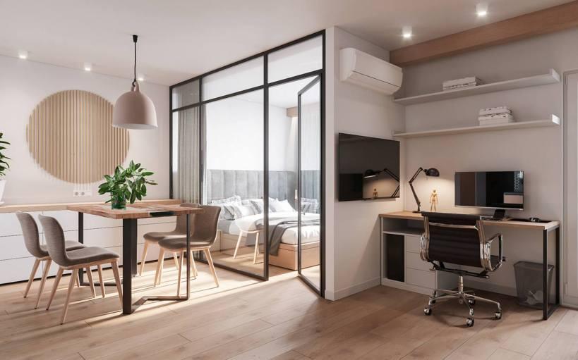 Квартира 42 м2 молодой женщины, работающей на дому, с хорошо организованным светлым пространством и современной мебелью.
