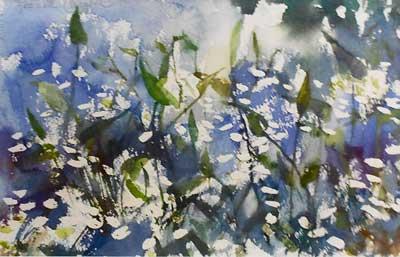 Pickerelweed Watercolor - Impressionist Art by Laurette Carroll