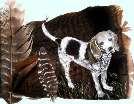 Bluetick Coonhound on Feathers