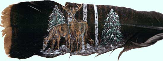 Buck & Doe on feathers by Lennie Bartlett