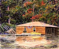 Flying The Banner - Lake Sunapee Boathouse by JoAnn Pippin