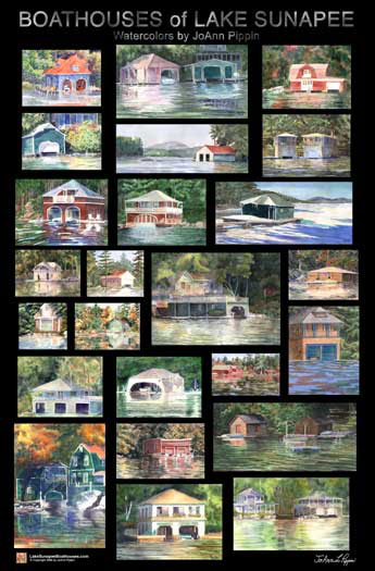 Boathouses of Lake Sunapee Large Format Poster