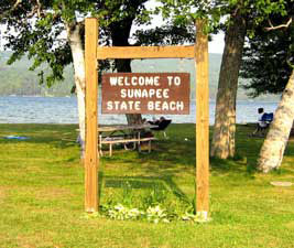 Sunapee State Beach sign