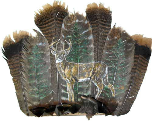 Deer & Trees on Feathers by Lennie Bartlett