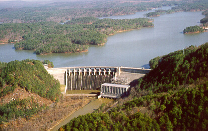 Fire at Lake Allatoona Dam at Lake Allatoona