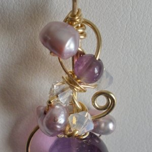 Amethyst & Pearl Embellished Wire Sculpted Pendant Ornate Embellished Purple Lavender Wrapped 14kt Gold Filled Wearable Art Gemstone GP107
