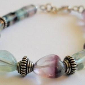 Fluorite Hears & Tubes Universal Energies Healing Gemstones Purple Green and Clear Beads Handmade Bracelet Semiprecious Semi Precious SB108