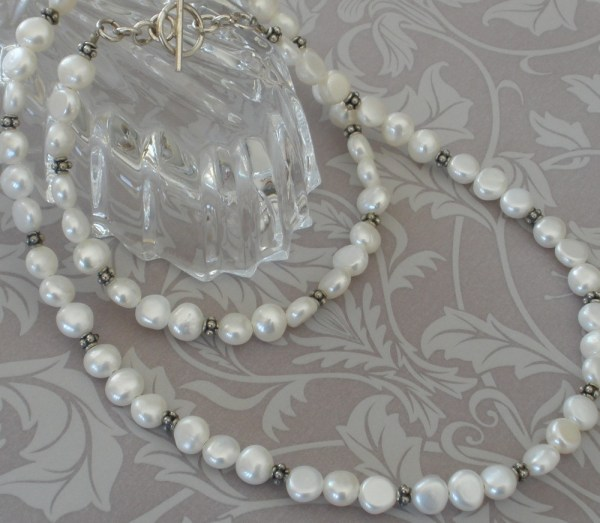 Luscious Long White Pearl Sterling Silver Decorative Necklace Wedding Bride Bridal Simple Elegant String 925 Bali Beads Wedding SN148