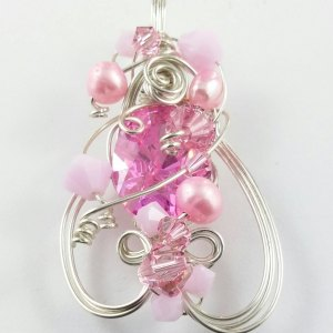 Pretty in Pink Cubic Zirconia Pearl and Swarovski Embellished Sterling Silver Pendant Freshwater Crystal Opaque Jewellery Jewelry SP130