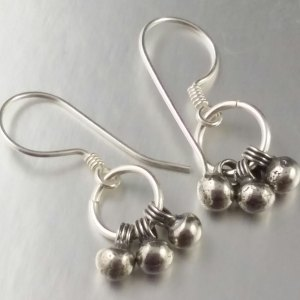 Sterling Silver Trio Wire Wrapped Short Length Dangly Earrings Ball Dangles Dainty Petite Size Short Length Jewellery Jewelry Ring SE125
