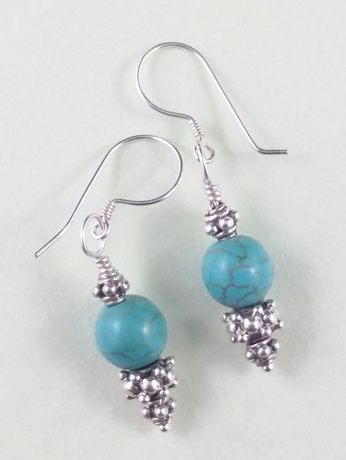 Turquoise Sterling Silver Decorative Handmade Earrings