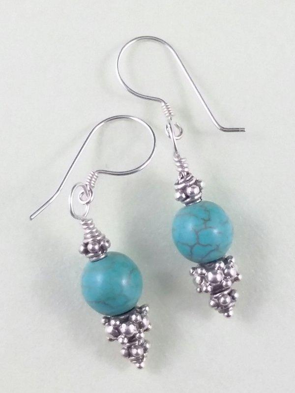 Turquoise Sterling Silver Decorative Handmade Earrings Green Blue Semi Precious Stones Gems Gemstone Dangle 925 Hook Ornate Ornamental SE141