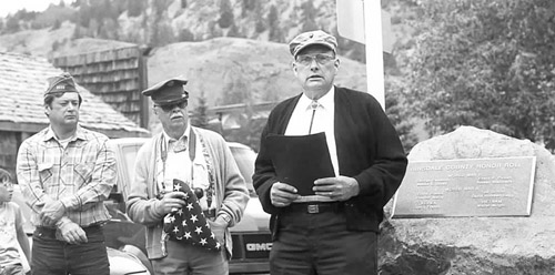 Frank Kasky was joined by fellow county Veterans Milo Morse and Joel F. Swank at dedication ceremonies which were held for a new Veterans' memorial in 1992.