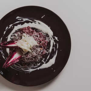 Risotto with Radicchio and Parmesan cream