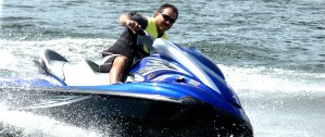 Jet ski running fast on Lake Conroe