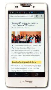 Smart Phone displaying web site