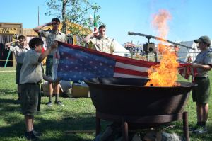 Flag retirement ceremony by the Boy Scouts at Texian Heritage Festival