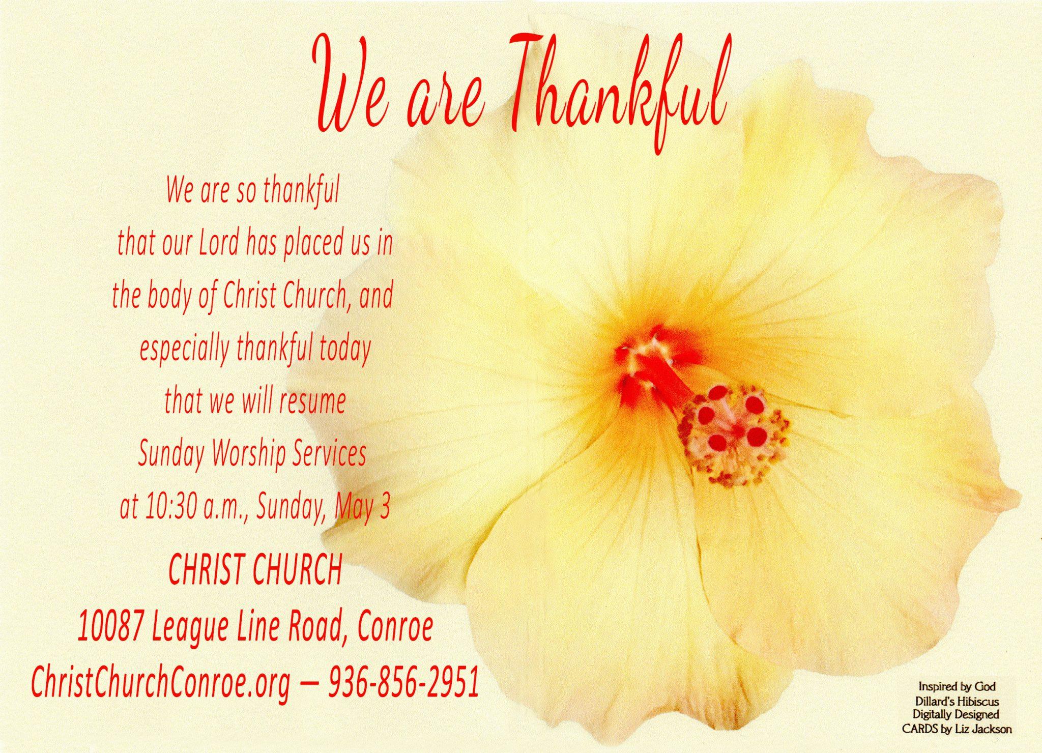 Christ Church, Conroe, resumes Worship Services, Sunday, May 3