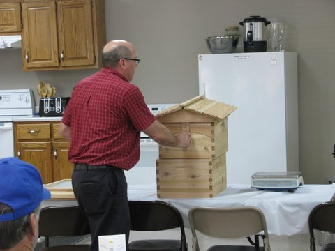 Dr. Robert Martin brought his flow hive to the meeting