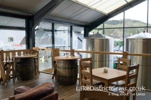 Upstairs at Hawkshead Brewery, overlooking the brewery