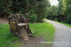 Seat feature made from a stump at Holker Hall