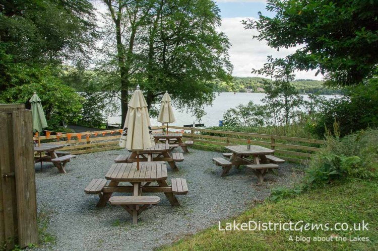Picnic tables at Claife Station