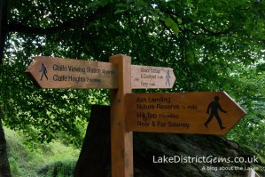 Signposts at Claife Viewing Station